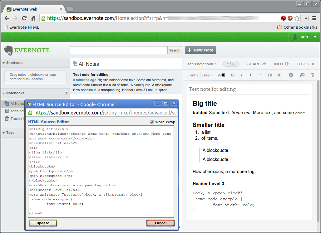 HTML source editor for Evernote (web) – a bookmarklet! [Updated 2014